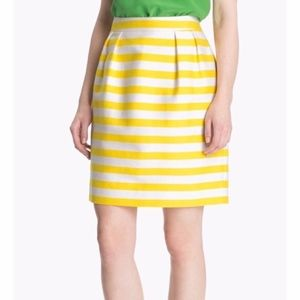 Kate Spade Barry Yellow White Striped Skirt